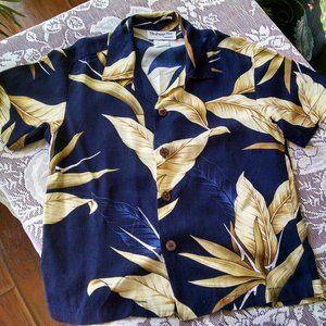 Bishop St. Boys Size 5 Blue & Gold Hawaiian Shirt